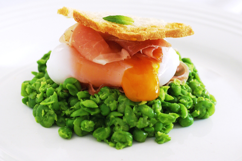 Sous Vide Goose Egg on a pea and mint nest - prosciutto ham